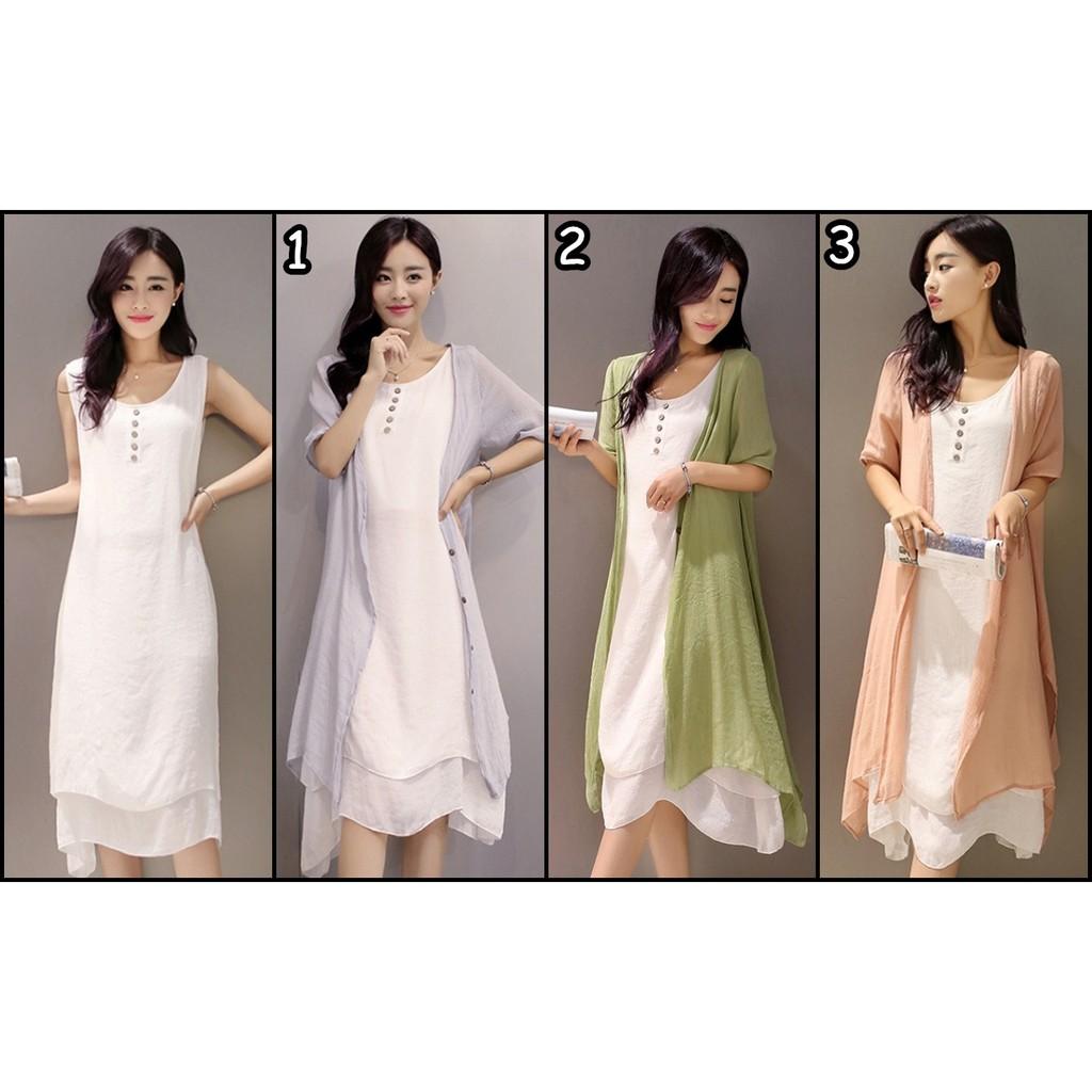 氣質文藝復古棉麻兩件式連身裙洋裝