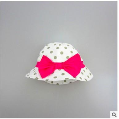 Momo House 外貿原單出口歐洲 白底灰波點玫紅蝴蝶結女童帽童太陽帽
