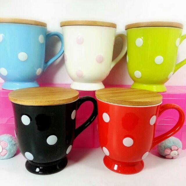 彩色貓n 水玉木蓋杯系列杯子杯蓋馬克杯,咖啡杯~茶杯