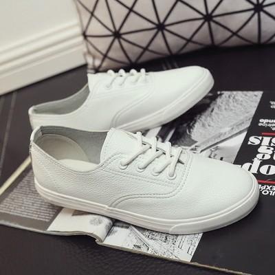 ☁☁7 彩衣櫃☁☁ 系帶情侶小白鞋女百搭 帆布鞋女學生平底板鞋白色平跟單鞋帆布鞋休閒鞋平底