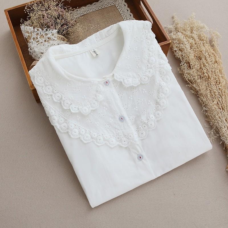▲襯衫▲ 森系小清新木耳邊刺繡蕾絲花邊娃娃領打底純棉白襯衫