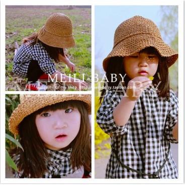 Momo House 韓國 親子款兒童 編織草帽沙灘防曬寶寶遮陽帽