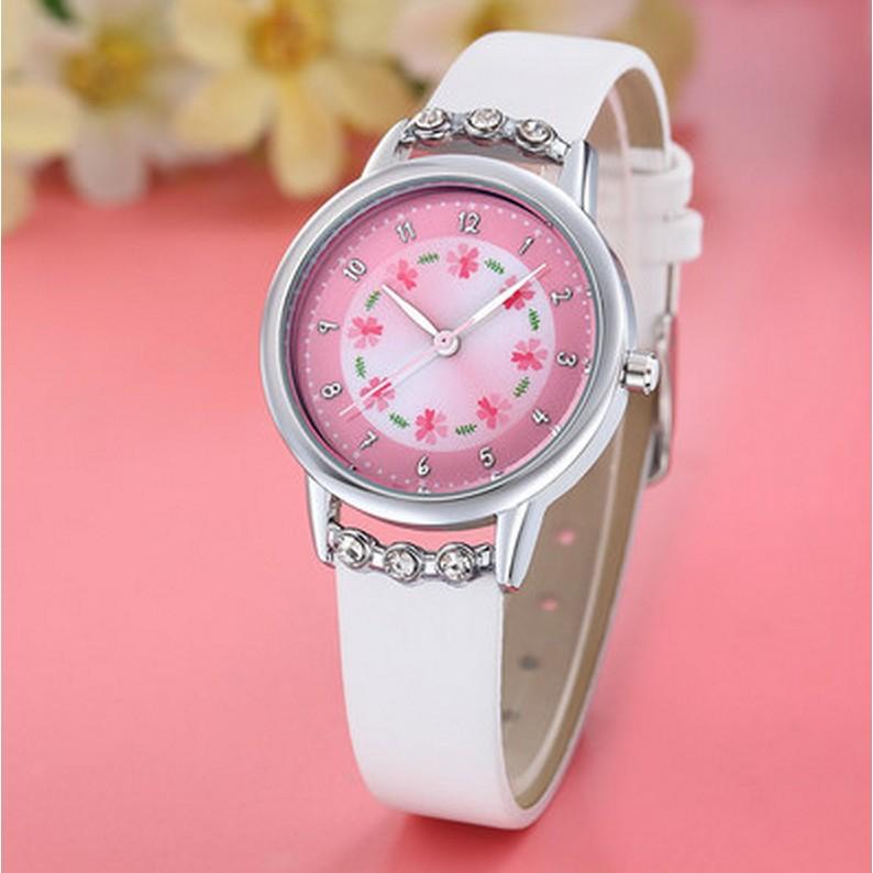 手錶女孩防水石英表中小學生女童女生表可愛簡約潮流水鑽腕表