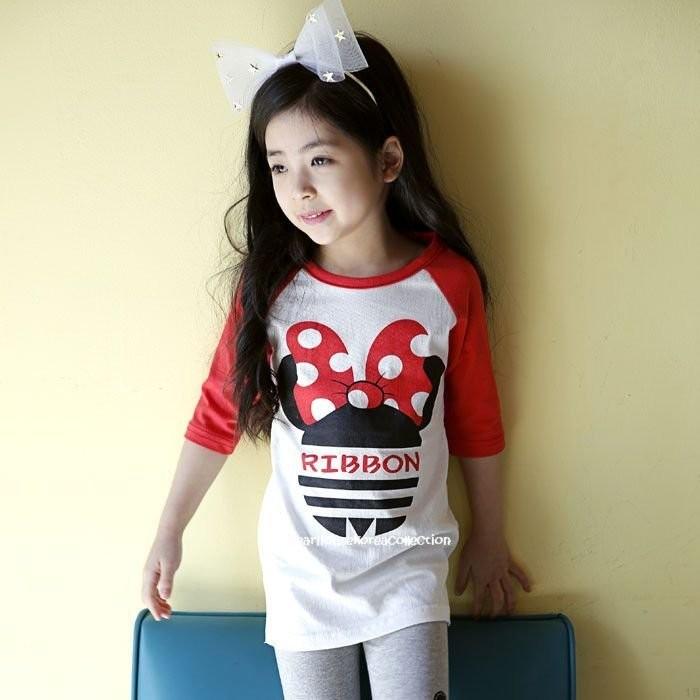 °~格子熊童部屋~°韓國 ~~300 均一價~米妮配色長版T 7 9