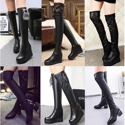 高跟過膝瘦腿長靴子松糕厚底內增高彈力套筒女棉鞋高筒靴