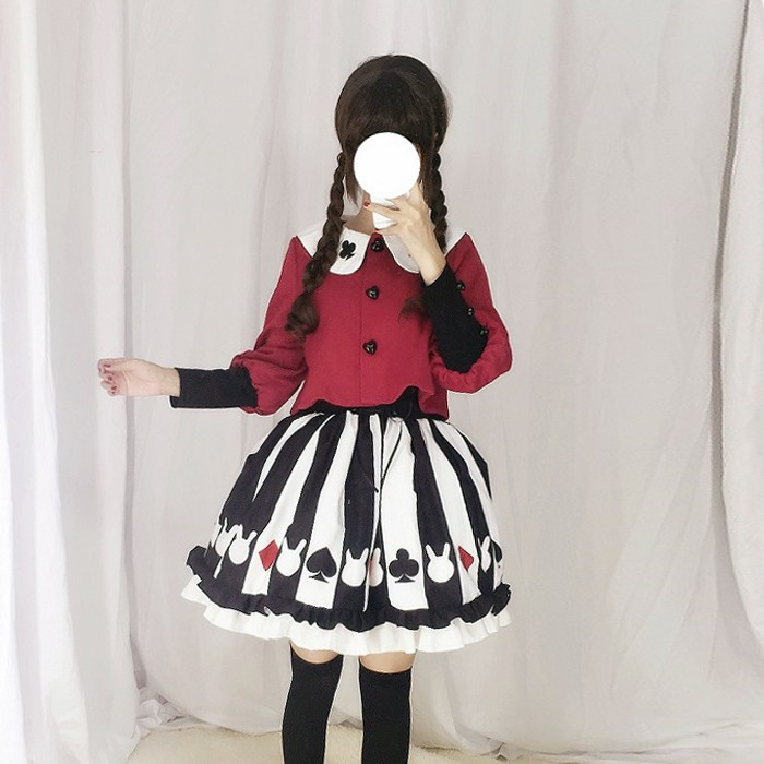日系軟妹 女裝jk  套裝Lolita 呢子外套短裙學生兩件套飛行外套毛衣外套西裝外套防風