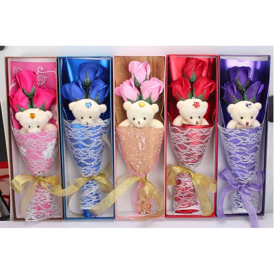 情人節 香皂小熊玫瑰花束 三朵花一個小熊香皂花二次進場婚禮小物 情人節