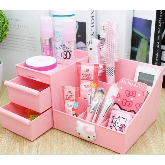 s 2 個以上請下全家kitty 韩国抽屉式化妆品桌面整理盒塑料150