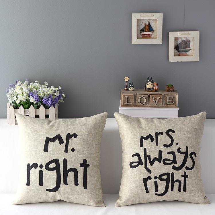 自然情侶結婚厚棉麻抱枕抱枕套不含枕芯枕心mr mrs right 結婚 婚禮佈置枕頭