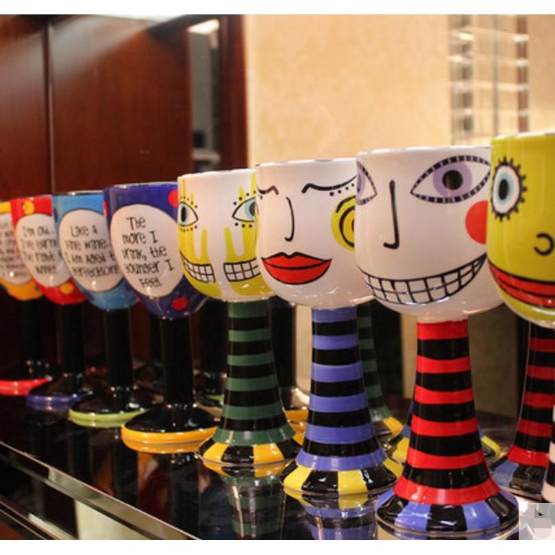 彩繪馬克杯紅酒香檳杯淇淋高腳杯咖啡水杯 陶瓷杯子