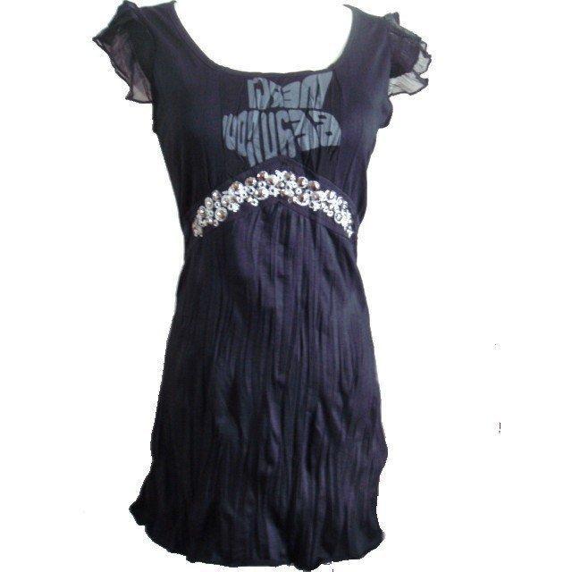 黑色荷葉紗質雪紡袖印花胸前珠珠寶石裝飾洋裝連身裙甜美休閒裙子日韓