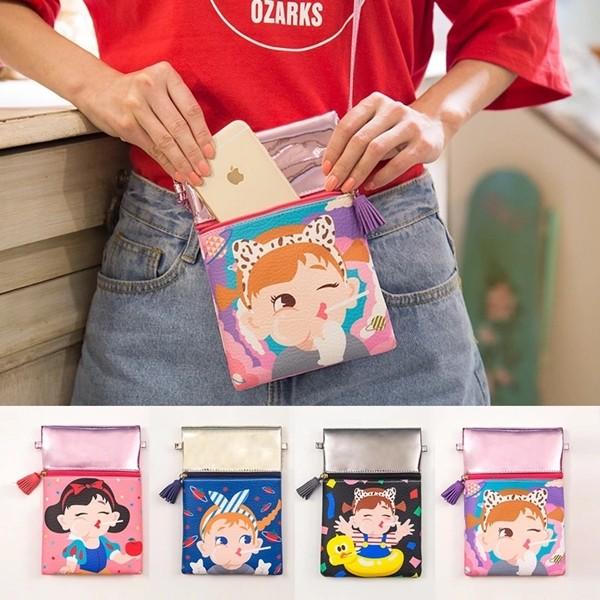 ~F U ~ 實拍可愛棒棒糖女孩拼接手機包斜背包肩背包化妝包女士女用手拿包側背包包B290