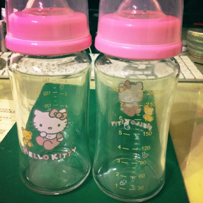 Kitty 十字孔超可愛玻璃奶瓶