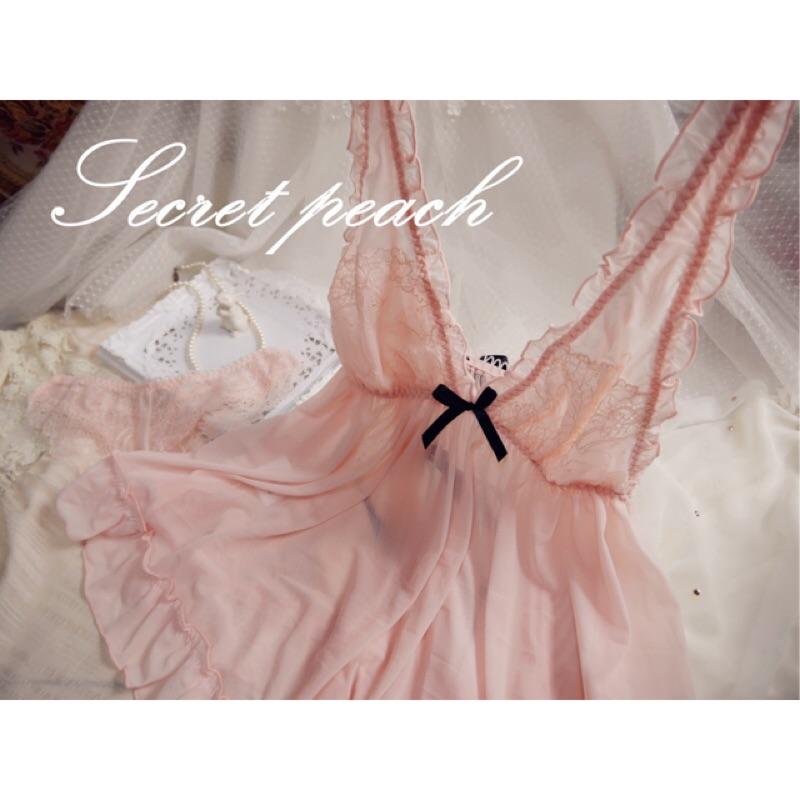 Secret peach 風法式女伶粉色甜美蕾絲薄紗背後小心機性感睡衣組睡衣性感小丁