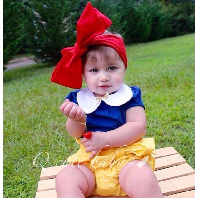 套裝組 款女童寶寶白雪公主上衣褲子髮帶女孩兒童新生兒❤❤Q cute baby ❤❤A 0