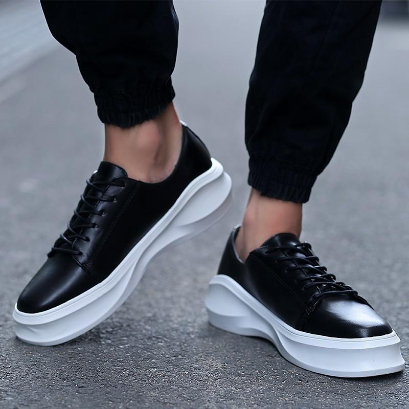 男士 厚底增高板鞋 英倫松糕鞋潮流休閒男皮鞋