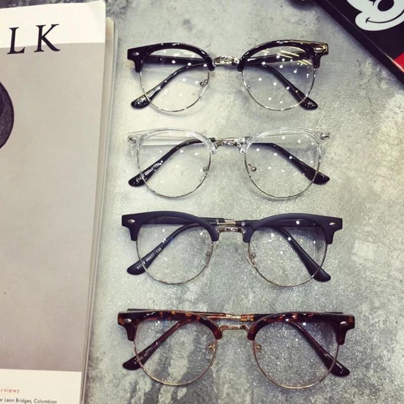 復古 大框文藝顯瘦女圓臉平光鏡復古潮男士半框眼鏡框可配近視眼鏡