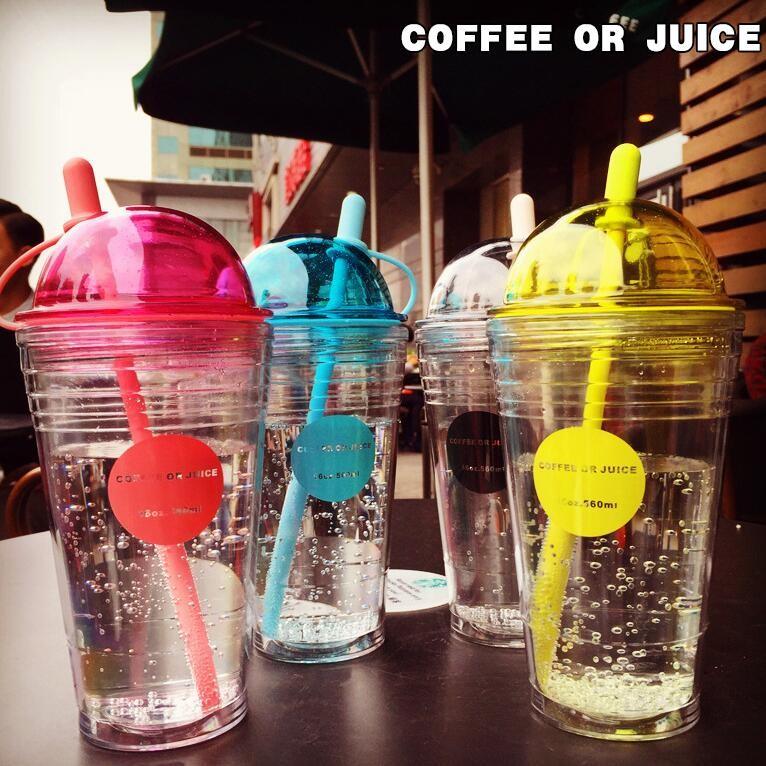 送杯刷新品韓國 雙層耐高溫吸管杯560ml 帶蓋隨手杯奶茶杯飲料杯五彩繽紛果汁杯五色選
