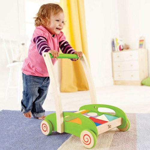 ~蠟筆小屋~宅配免 ~德國Hape 愛傑卡~彩色積木推車20 塊幼兒學步車兒童益智玩具