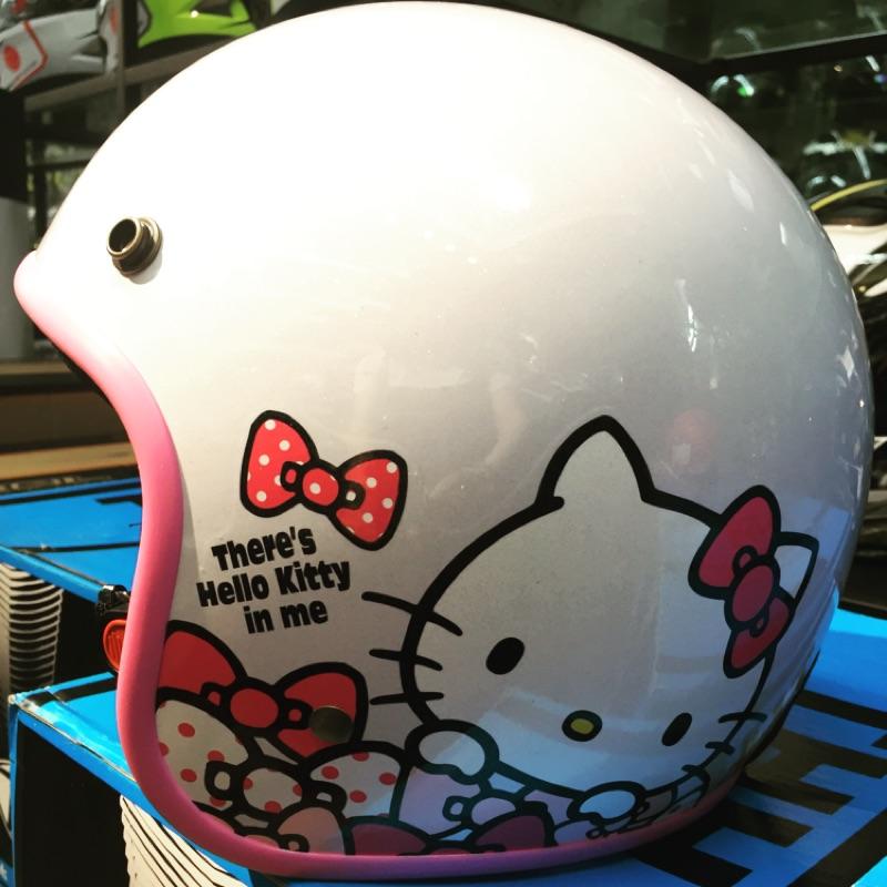 ~送長鏡片~Hello kitty 安全帽點點kitty 騎士帽四分之三安全帽~腦子安全帽