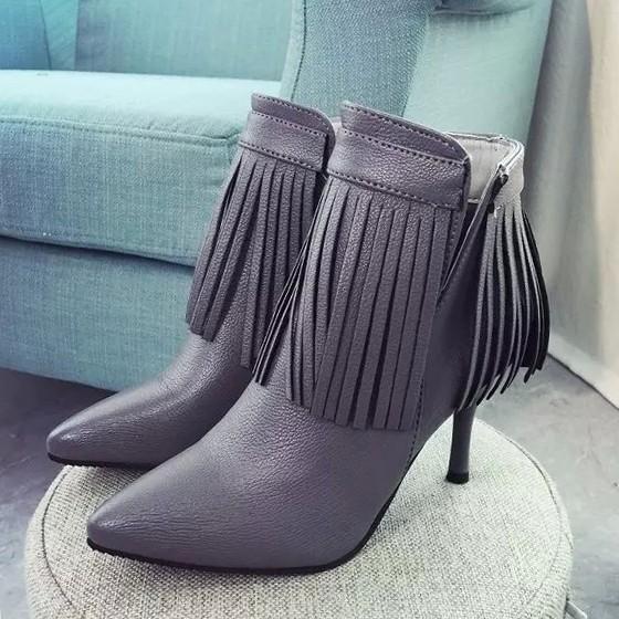 女靴流蘇短靴尖頭 女鞋細跟高跟鞋馬丁靴女及裸靴子女