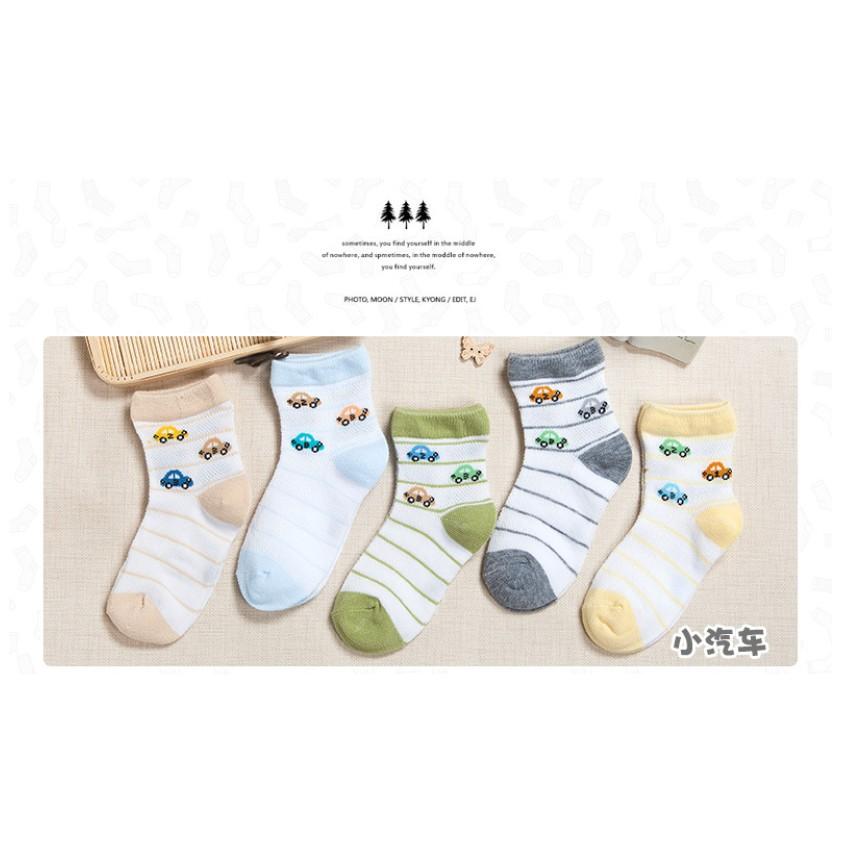 5 雙110 元夏款男女童中筒純棉薄款童襪可愛卡通小氣車透氣網眼兒童襪子
