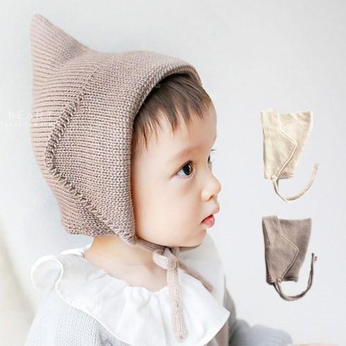~ ~純色尖頂綁帶針織保暖帽童帽毛線帽