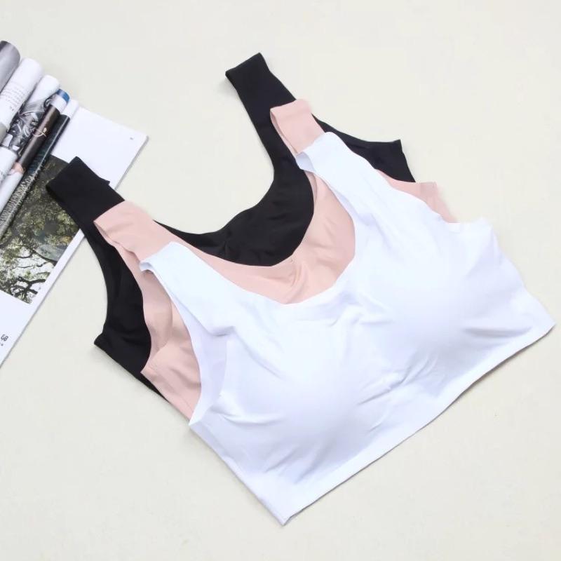 自留款✨E18 無痕涼感背心含胸墊背心內衣 內衣無鋼圈內衣S L 舒服冰絲防走光內搭衣內搭