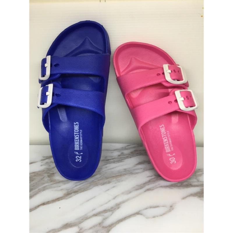兒童雙排扣防水勃肯拖鞋Eva 防水 可調節皮帶扣小朋友尺寸親子款拖鞋似Birkenstoc