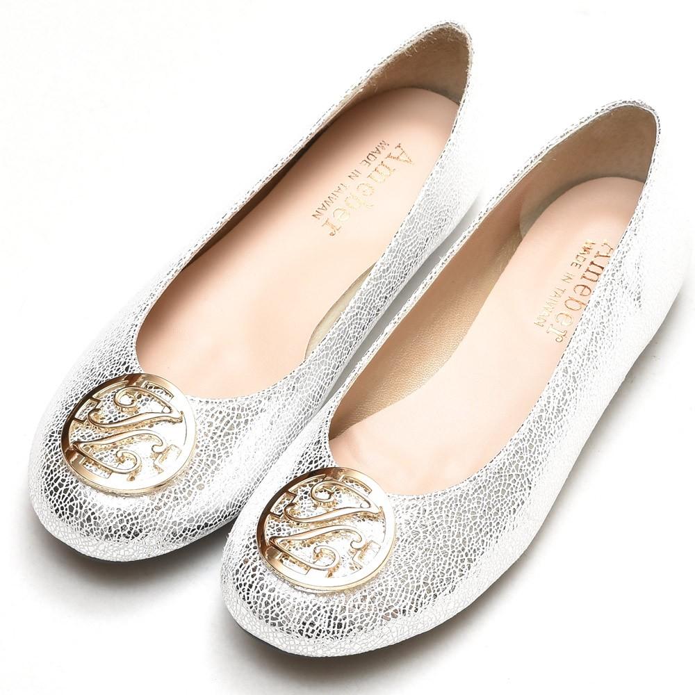 金屬圓型釦飾厚乳膠超軟Q 全真皮厚底娃娃鞋-銀色