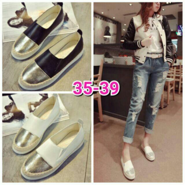 韓國爆款草編鞋金屬色拼皮革雙色懶人套腳樂福鞋35 39 四色