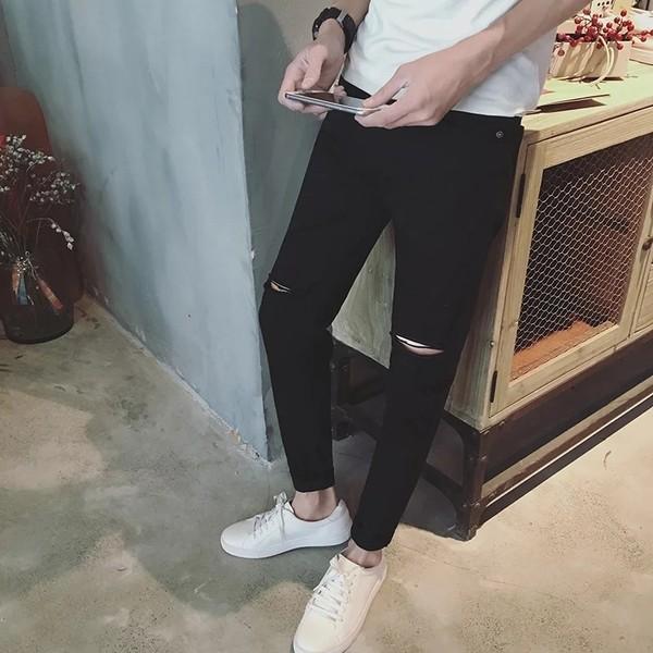 022 褲子黑色藍色白色一字破洞牛仔褲男修身情侶小腳乞丐褲潮破褲破洞長褲磨破褲破壞褲