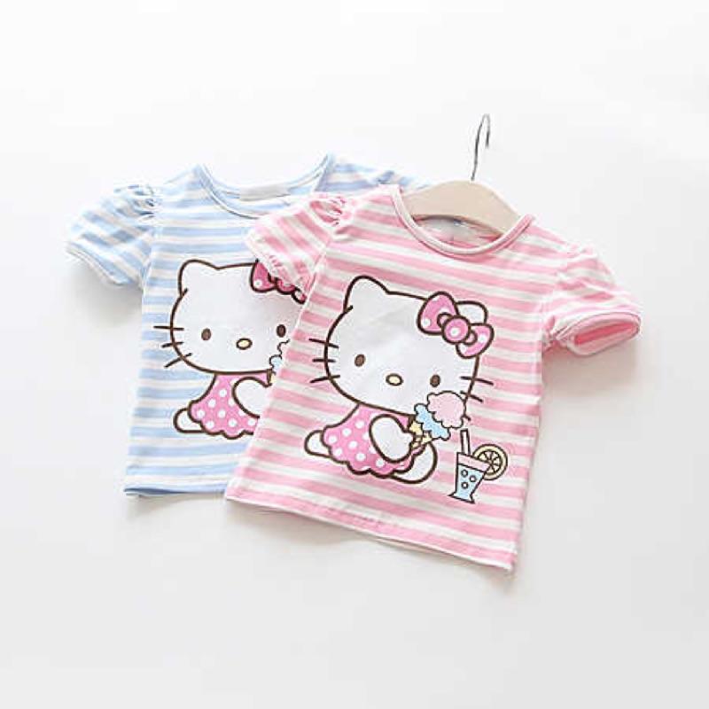 啃衣芙 小舖 女童全棉條紋短袖T 恤兒童寶寶卡通印花圓領上衣