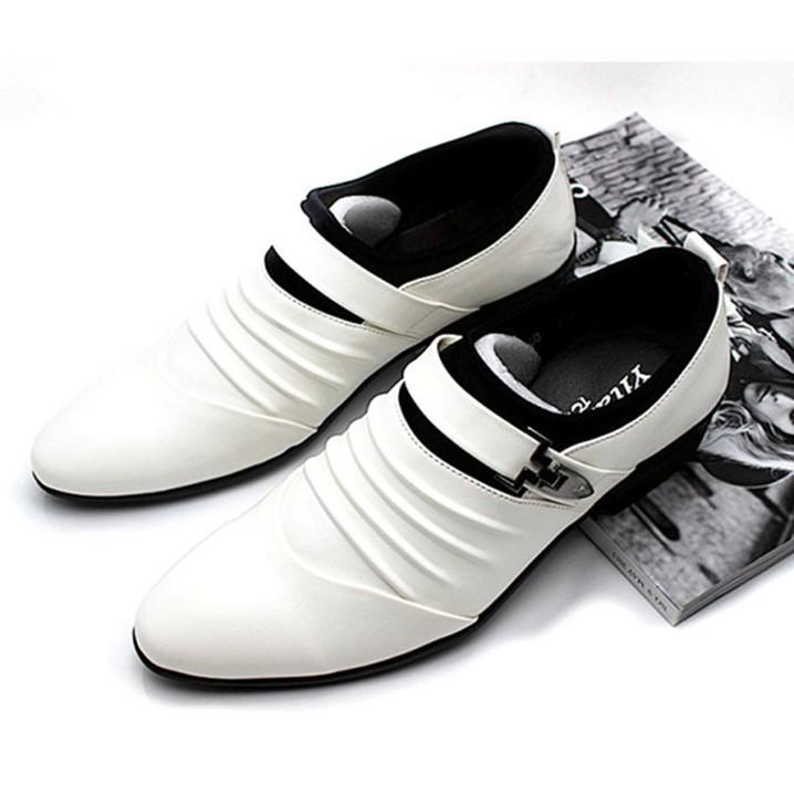 男士商務正裝皮鞋男套腳尖頭青年英倫風婚鞋透氣白色男鞋