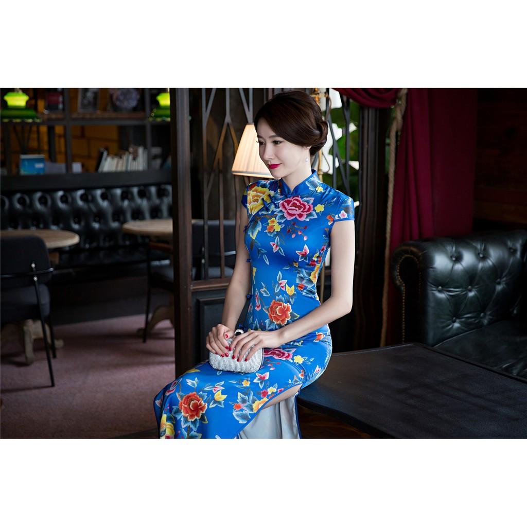 2016 四季 重磅絲綢長旗袍改良復古長款牡丹花高檔女裝