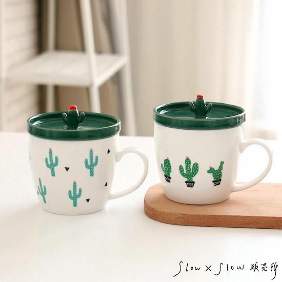 ~ ~馬克杯小清新北歐初春盎然仙人掌 帶蓋陶瓷馬克杯牛奶杯果汁杯咖啡杯ZAKKA