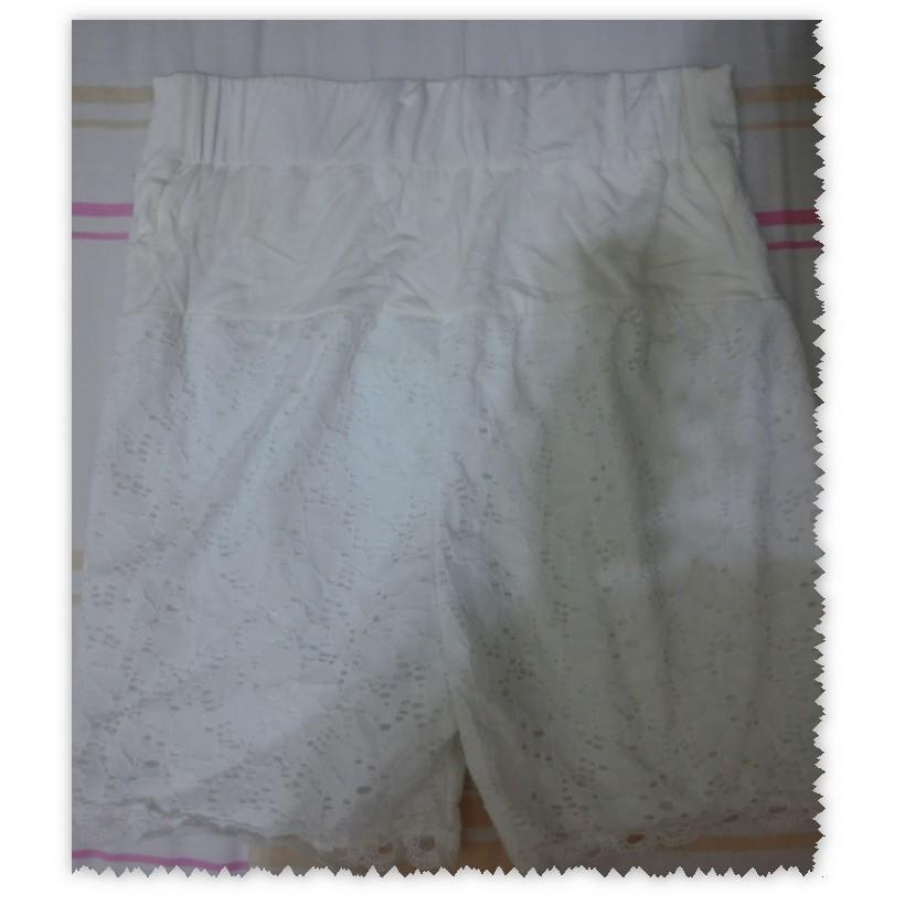 孕婦褲滿版蕾絲彈性安全褲瑜珈腰圍M