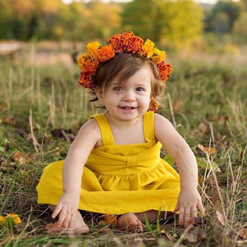 蓁誠 女寶女童兒童寶寶小童嬰兒蝴蝶結彈性交叉吊帶連身裙娃娃裙高腰黃色露背
