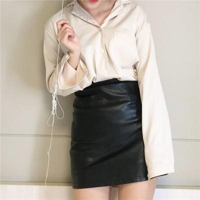 復古春夏韓國 簡約氣質性感絲質緞面寬松襯衫襯衣女