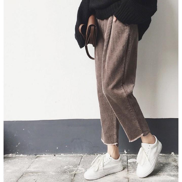 韓國學院風文藝復古寬松顯瘦燈芯絨九分哈倫褲 褲