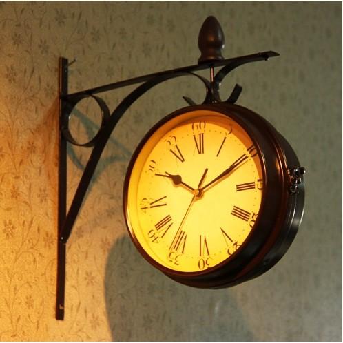 老式復古掛鐘歐式懷舊鐵藝雙面掛鐘靜音機芯歐式鐵工藝復古雙面掛鐘時鐘靜音田園掛鐘歐式紐約鐘