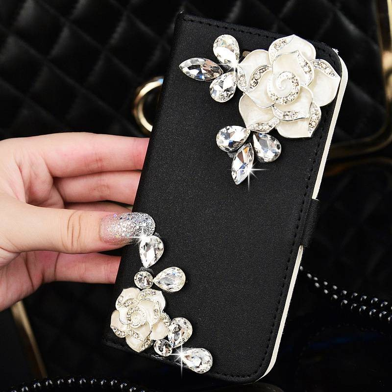 ~ ~珍珠掛繩水鑽花朵翻蓋手機殼保護皮套 蘋果的手機殼