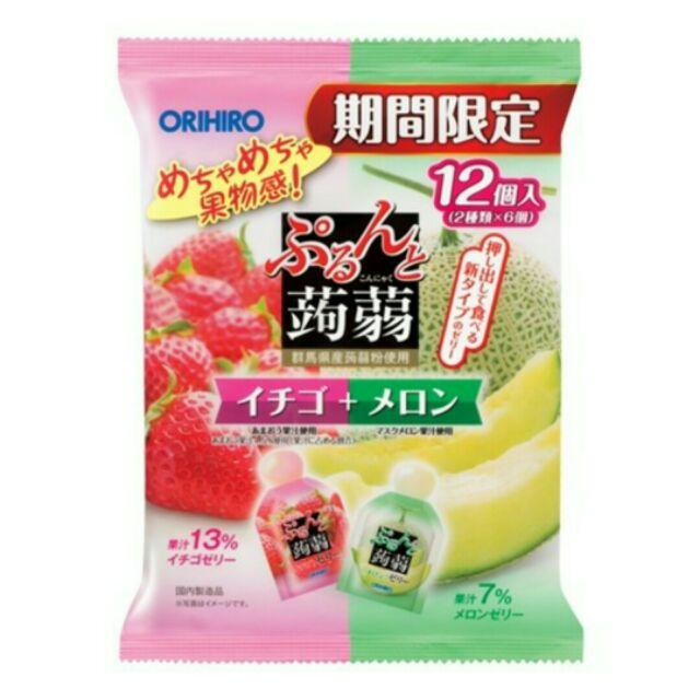 超夯ORIHIRO 擠壓式不沾手蒟蒻果凍1 包雙口味12 入大包裝零卡