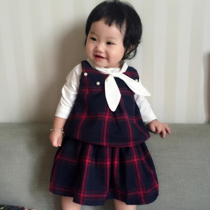 曈曈Baby 外貿 蝴蝶結學院風格子馬甲長袖T 卹短裙三件套裝