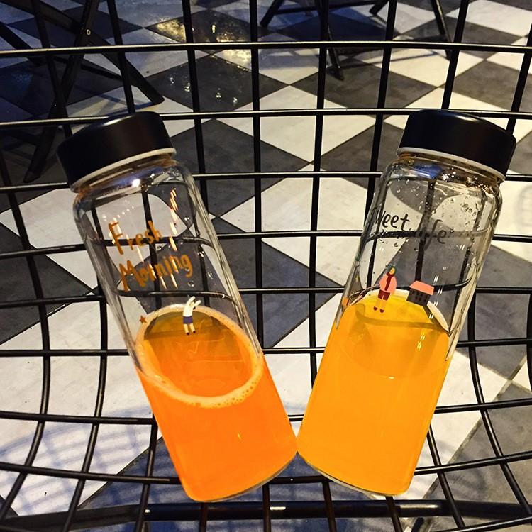 韓國 G 小調my bottle 玻璃杯高硼硅耐熱玻璃杯防漏瓶蓋學生杯情侶杯隨行杯
