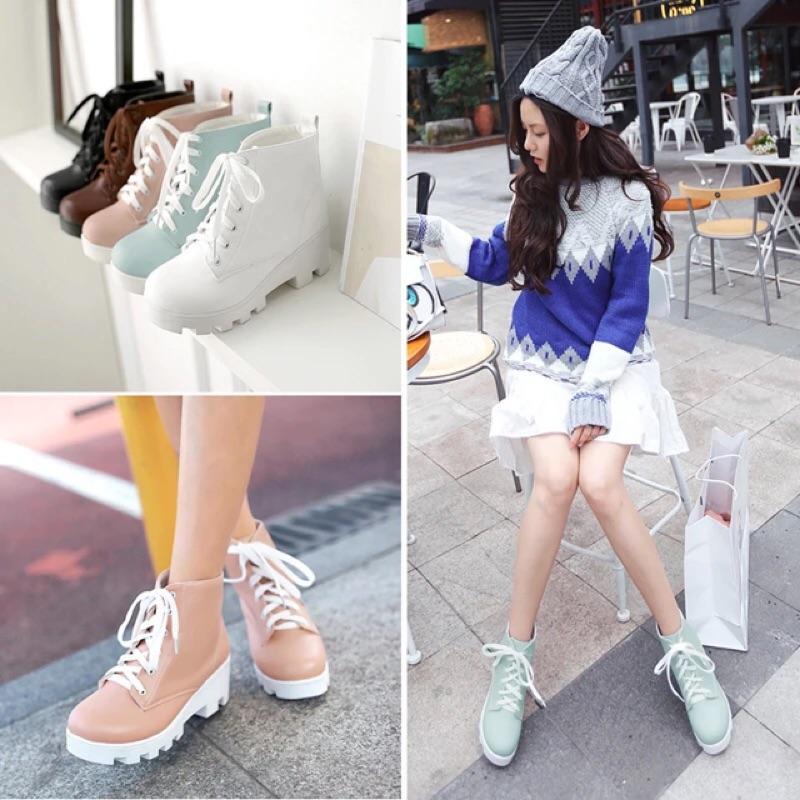 馬卡龍色系粗跟短靴繫帶馬丁靴鬆糕底高跟厚底踝靴