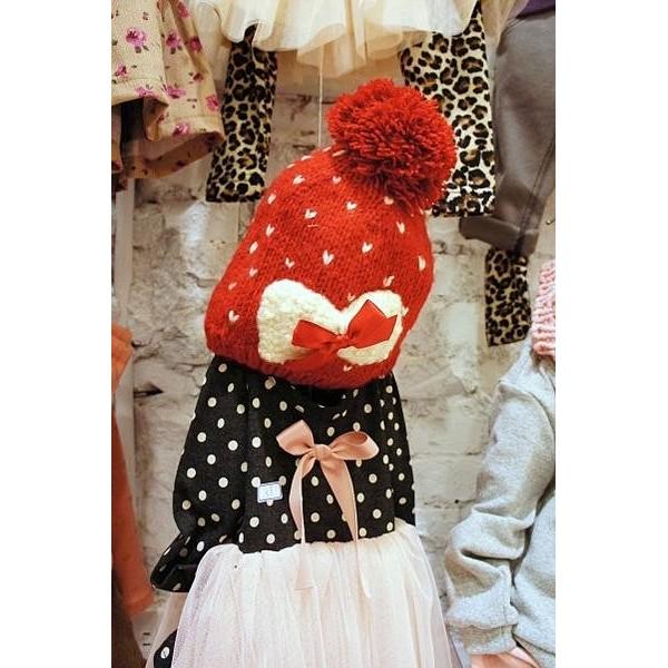 韓國 兒童愛心點點珍珠花結針織毛帽紅色