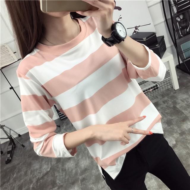 Ying Fashion ☘️秋装 大學T 寬鬆顯瘦大碼條紋長袖上衣☘