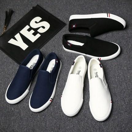 ~包郵~ 男士休閒鞋男鞋一脚蹬懶人鞋帆布鞋男板鞋老北京小白鞋潮鞋子