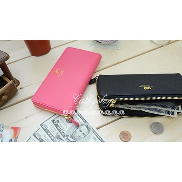 甜美氣質可愛蝴蝶結皮夾長夾長款錢包女款拉鍊長錢包d025